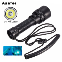 2000LM Underwater Torch Light CREE XML L2 T6 LED Scuba Diving Flashlight Lamp Using 18650 Battery 100% waterproof ip67 diving flashlight xml t6 led 10w underwater torch 18650 led diver flash light with rope and wristband 8023