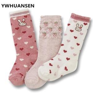 YWHUANSEN 3Pairs/lot Cute Cartoon Knee Socks For Girls Popular Pantyhose Boys Anti-slip Girl's Stockings Cotton Child Long Socks