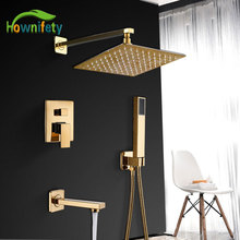 Shower-Set Concealed Bathroom-Crane Golden Luxury Cold-Mixer-Value Brass Modern Hot 3-Way