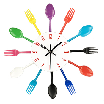 Cutlery Metal Kitchen Wall Clock Spoon Fork Creative Quartz Wall Mounted Clocks Modern Design Decorative Horloge Murale Hot Sale 9