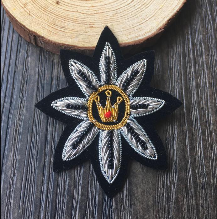 Diy Handmade Embroidered Patch: Flower Silk Emboridered Patch Brooch India Silk Wire