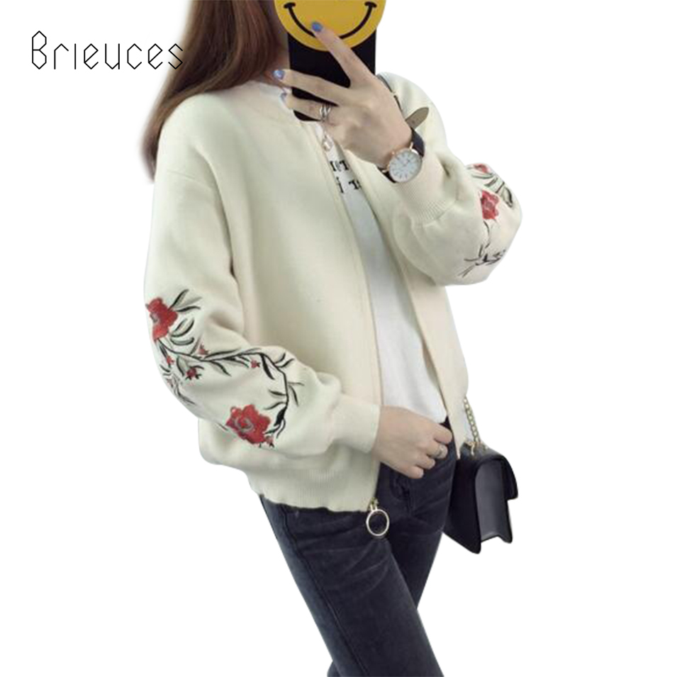 Brieuces new embroidery knit cardigan sweater women long sleeves casual loose jacket women zipper pink black coat