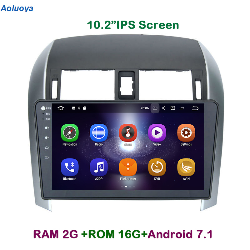 Aoluoya IPS 2GB RAM Android 7.1 Quad Core CAR DVD PLAYER For <font><b>Toyota</b></font> <font><b>Corolla</b></font> 2007-2010 <font><b>2011</b></font> 2012 Radio GPS Navigation <font><b>multimedia</b></font> image