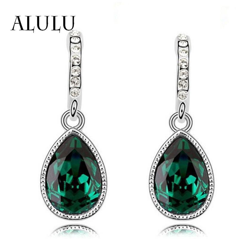 Dangle Earrings: Fashion Green Main Color Drop Earrings female Silver Plated Crystal Long Earring For Women Rhinestone Drop Earrings brincos