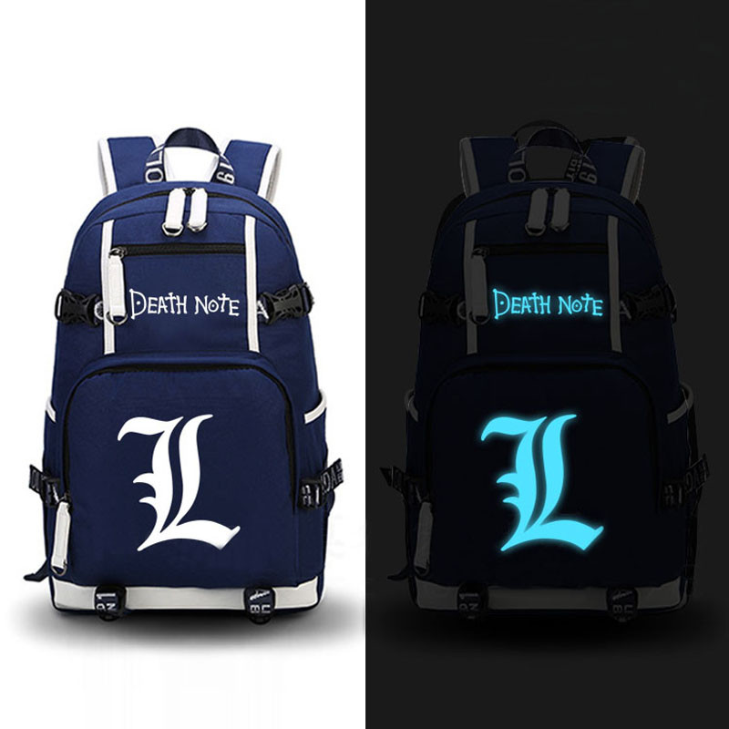 High Quality Anime Death Note Luminous Printing Backpack Mochila Canvas School Women Bags Fashion Backpacks for Teenage Girls high quality anime death note luminous printing backpack mochila canvas school women bags fashion backpacks for teenage girls