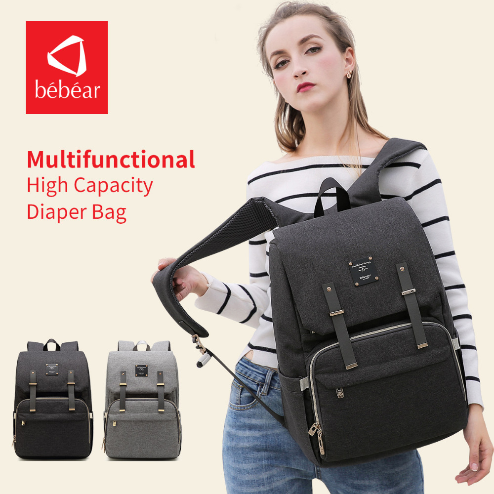 Bebear Fashion Mummy Maternity Diaper Bag Travel Nursing Nappy Bag Baby Designer Stroller Bags Handbag Backpack for Mom baby bags for mom mommy mother travel food stuff storage nursing maternity mummy diaper bag babies stroller backpack