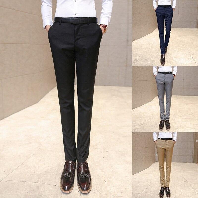Oeak 2019 Hot Mens Suit Trousers Male High Quality Pure Color Slim Fit Business Suit Pants Male High-end Leisure Thin Leg Pants
