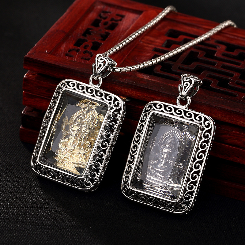 2018 offre spéciale nouvelle Alexandrite S925 Sterling Antique Thai incrusté tronc nez pendentif, longue chaîne de chandail de Style, pendentif homme dame