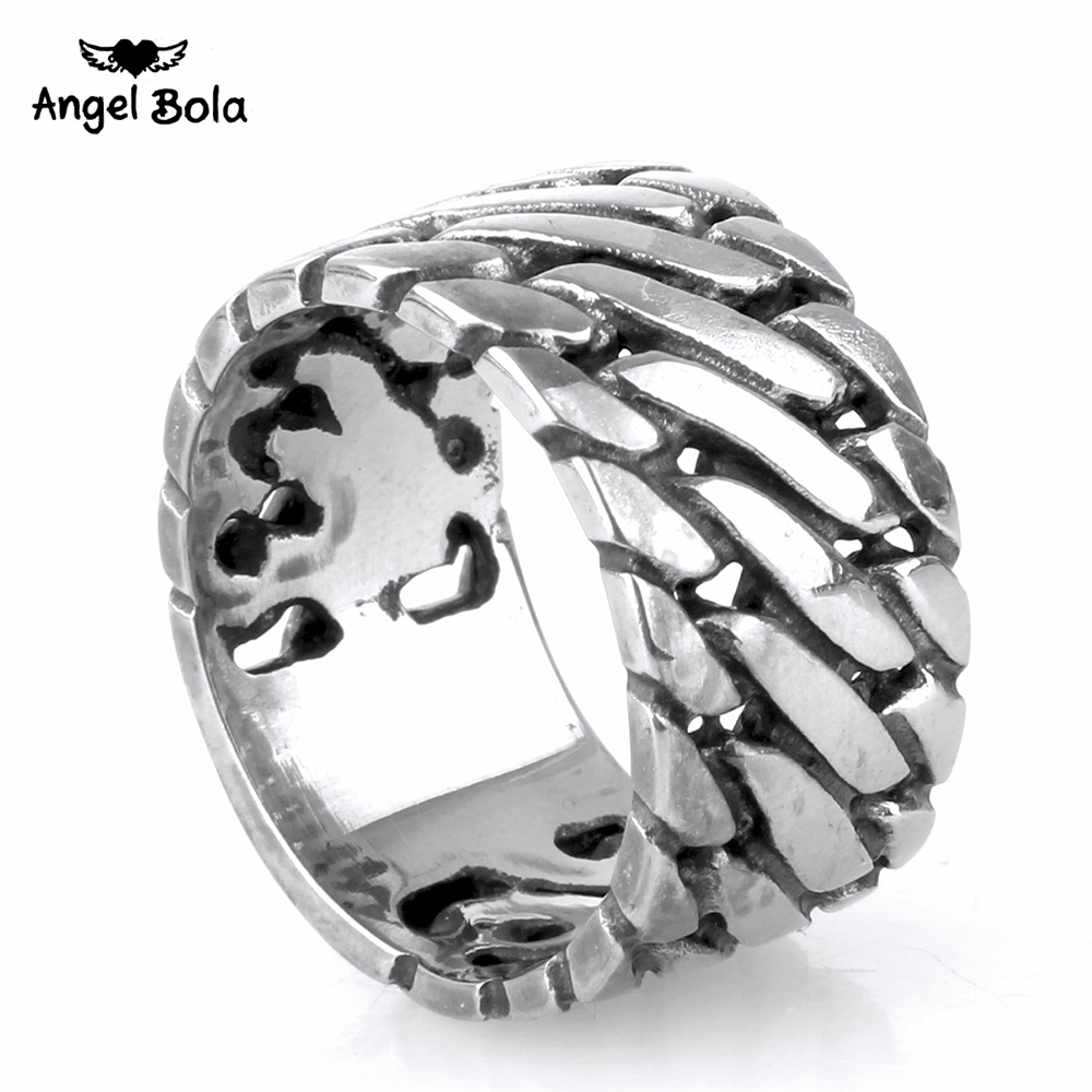 Punk Biker Jewelry Wide Chain Ring Buddha Ring Rock Titanium Stainless Steel Ring Hot Sale Finger Art Retro Drop Shipping