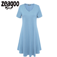 Zeagoo Women Short Sleeve V Neck Casual Loose Mini Summer Dress Lady Soft Short Autumn Dress