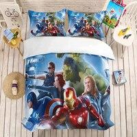 The Avengers iron Man 3D beding set Marvel Super hero Duvet Covers Pillowcases comforter bedding sets Spiderman Captain Marvel