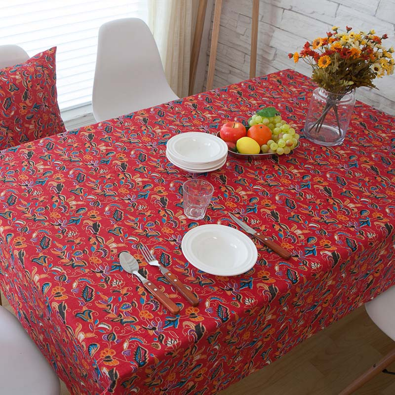 Coffee Table Linen Part - 50: Simanfei Hot 2017 New Bohemia Chinese Style Red Wedding Joyous Coffee Table  Tablecloth Linen And Cotton Dust Proof Tables Cloth-in Tablecloths From  Home ...