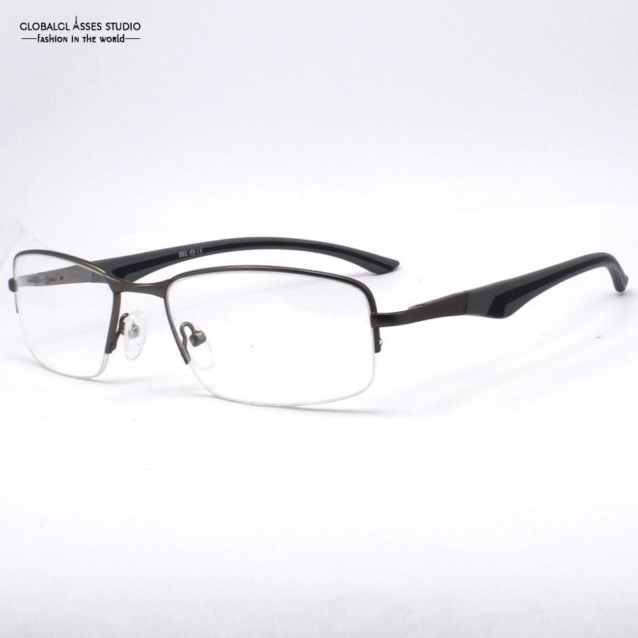 Clean Half Frame Glasses : New Fashion Unique Men Half frame Spring Hinge Grey Color ...