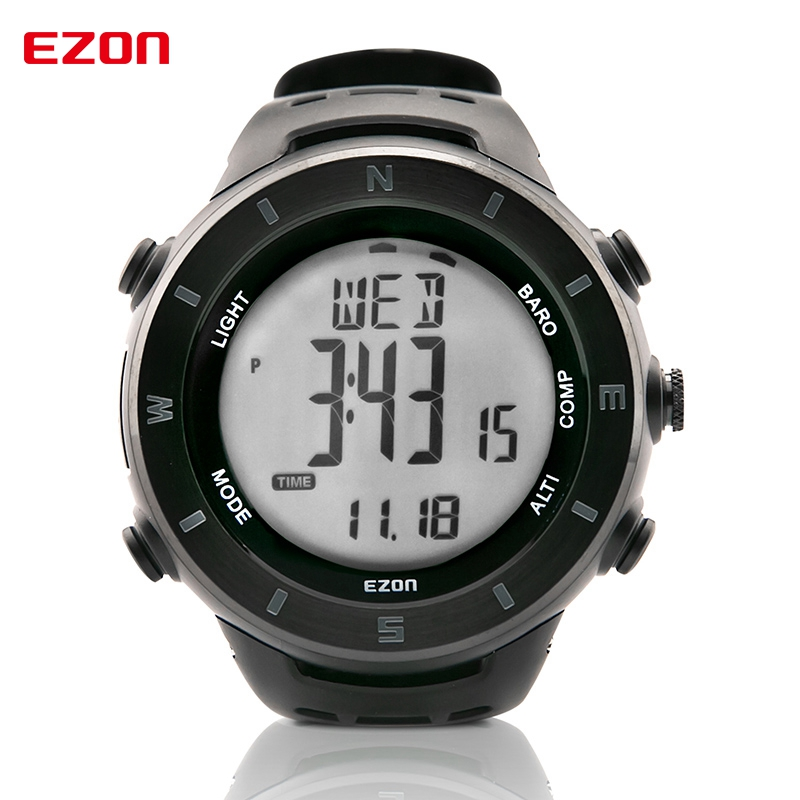 EZON Altimeter Barometer Thermometer Compass Weather Forecast Outdoor Fun Men Digital Watches Sports Climbing Hiking Wristwatch ezon multifunction sports watch montre hiking mountain climbing watch men women digital watches altimeter barometer reloj h009