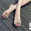 2017 Cheap Lady attractive(4-10) antiskid Flat with crystal Flowers Clear rhinestone peep toe Women beach Sandals Casual shoes