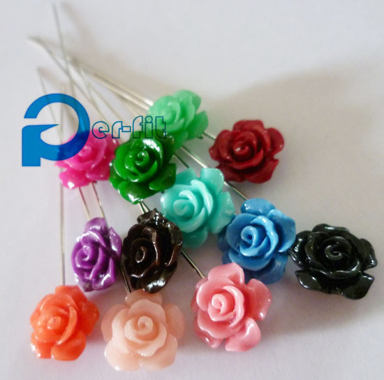 scarf pins rose flower scarf pins muslim khaleeji fix safety pins 36pcs/lot mix colors free ship
