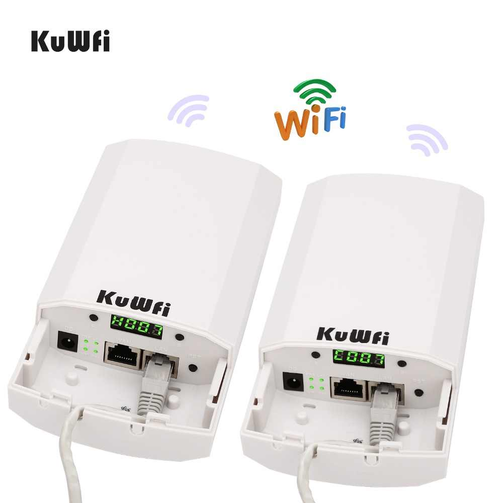RU חינם 2 PCS 2.4Ghz 300Mbps 2KM P2P אין הגדרת Wireless חיצוני CPE נתב גשר גישה נקודה תמיכת WDS עם תצוגת LED
