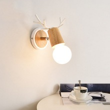 Wall Lamp 13*19cm Wooden Base bedside wall lamp modern led light for bedroom Nordic style E27 bulbs  110-220V long life