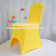 100pcs Extra Thick Dark Yellow Wedding Elastic Stretch Chair Covers Lycra  Spandex Chair Covers For Hotel