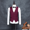 Classic Red Men Suit Vest 4 Buttons Wedding Groomsmen Waistcoat Formal Business Profession Clothes Dress Slim Casual Vest Male