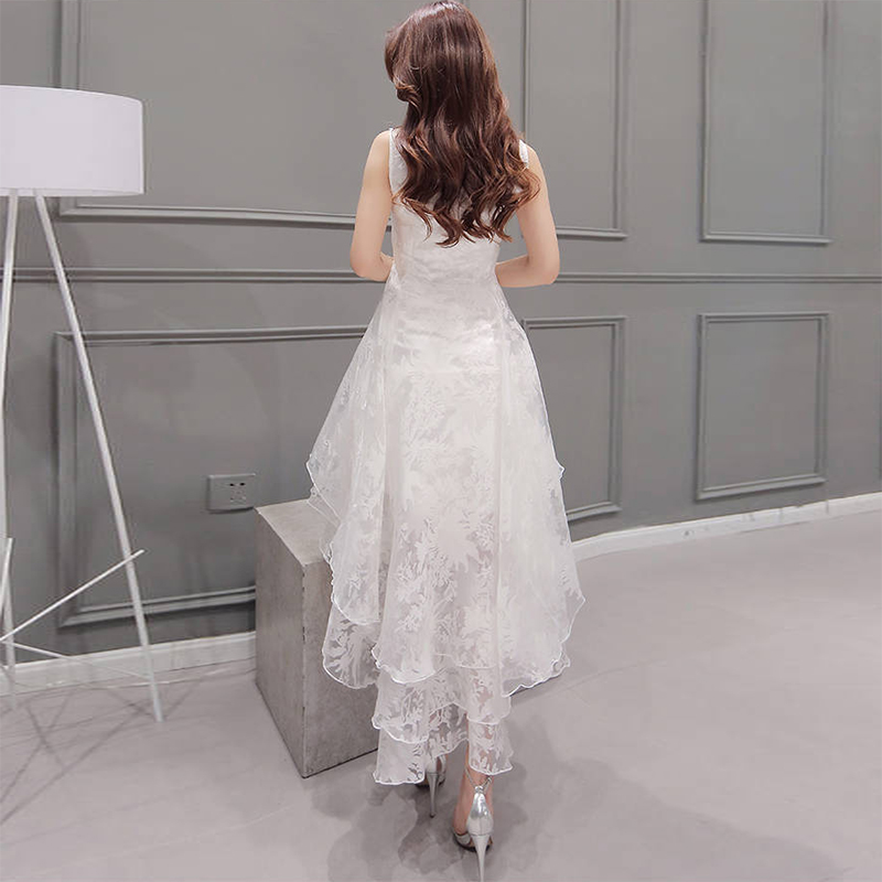 Summer Maxi Dress 2018 Women O-Neck Sleeveless Sweet Ball Gown White Organza High Low Evening Party Long Dress