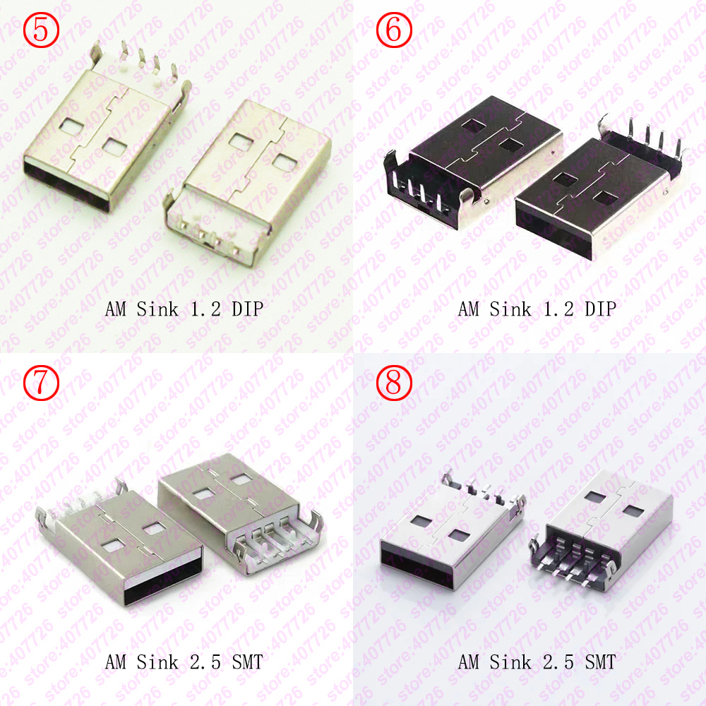 10PCS USB 2.0 Jack A Type Male Plug Connector USB jack AM <font><b>4pin</b></font> Sink 2.5 SMT /Sink 1.2 DIP <font><b>Cable</b></font> Soldering image