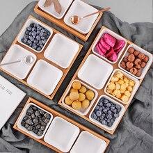 Креативный керамический бамбуковый поднос для сухих фруктов и десертов, многосеточная тарелка, домашний поднос для хранения закусок, поднос для конфет, сухофруктов, продуктов, десертов, чайных тарелок