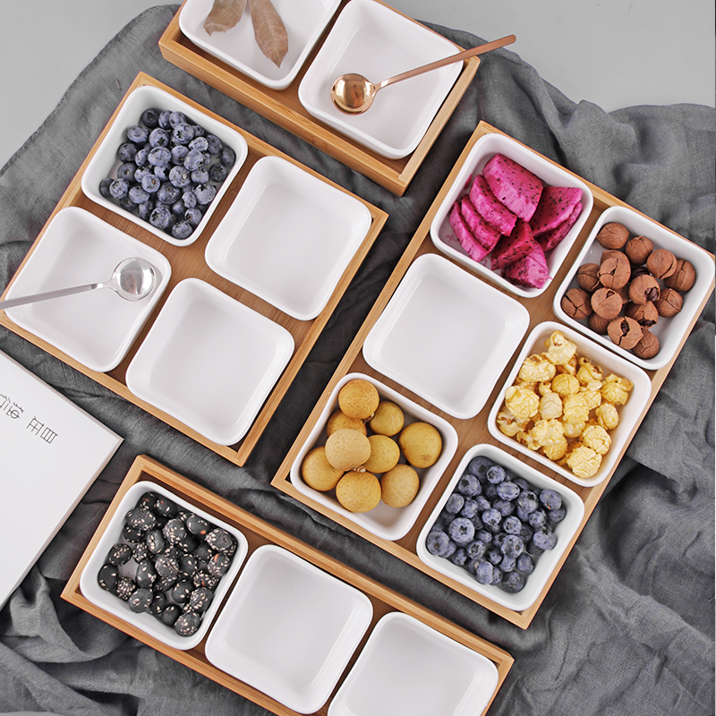 Creative Ceramic Bamboo Dry Fruit Dessert Tray Multi Grid Plate Home Snack Storage Tray Candy Dried Fruit Foods Dessert Tea Dish