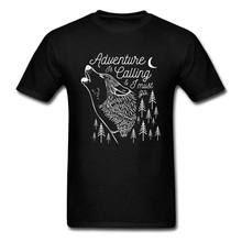 Fashionable Man T Shirt Adventure Is Calling Forest Wolf Print Tops Shirt 100% Cotton Short Sleeve Birthday Gift Tee Shirts недорго, оригинальная цена