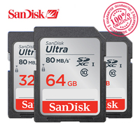 SanDisk Memory Card Ultra SDHC SDXC 16GB 32GB 64GB 128GB SD Card Class10 C10 80MB S