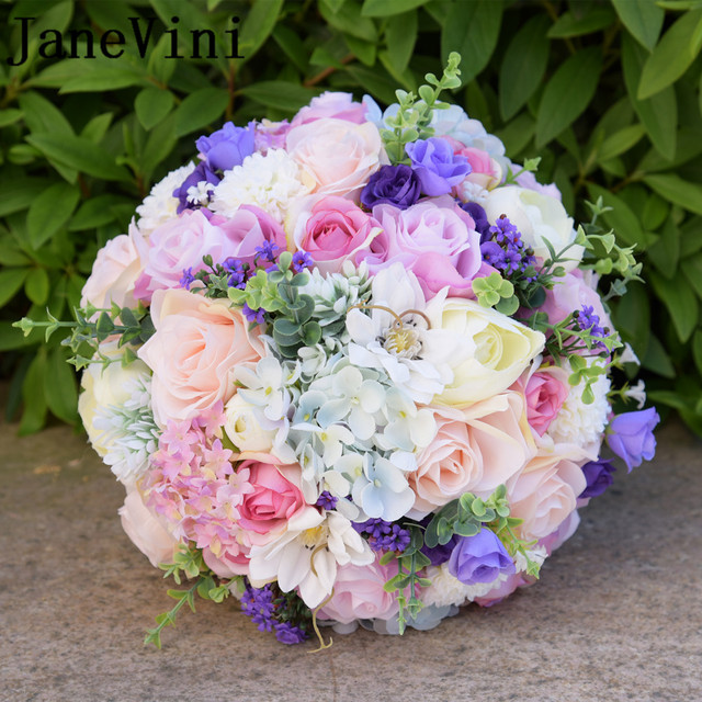 JaneVini Romantic Purple Wedding Flowers Bridal Bouquets Silk Artificial Flower Rose Bridal Brooch Accessories Buque De Noiva