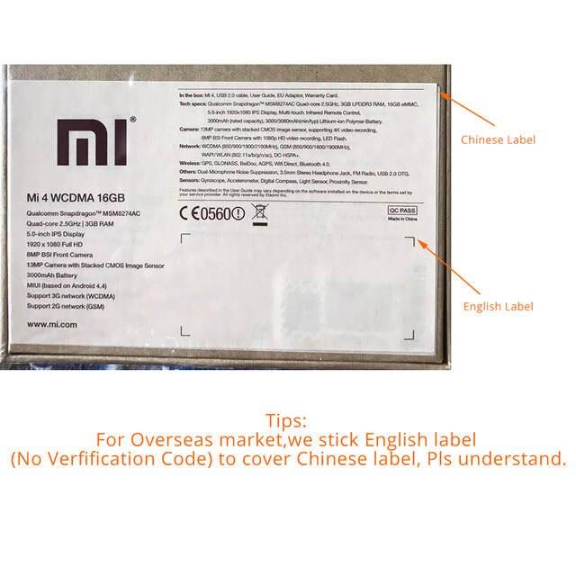 US $123 74 |Original Xiaomi Mi 4 Mi4 M4 3GB RAM WCDMA Mobile Phone  Snapdragon 801 Quad Core 16GB ROM 5 0