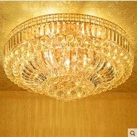 Modern Minimalist Golden LED Circular Living Room Crystal Lamp Creative Lamps Atmospheric Luxury Hall Ceiling Lighting