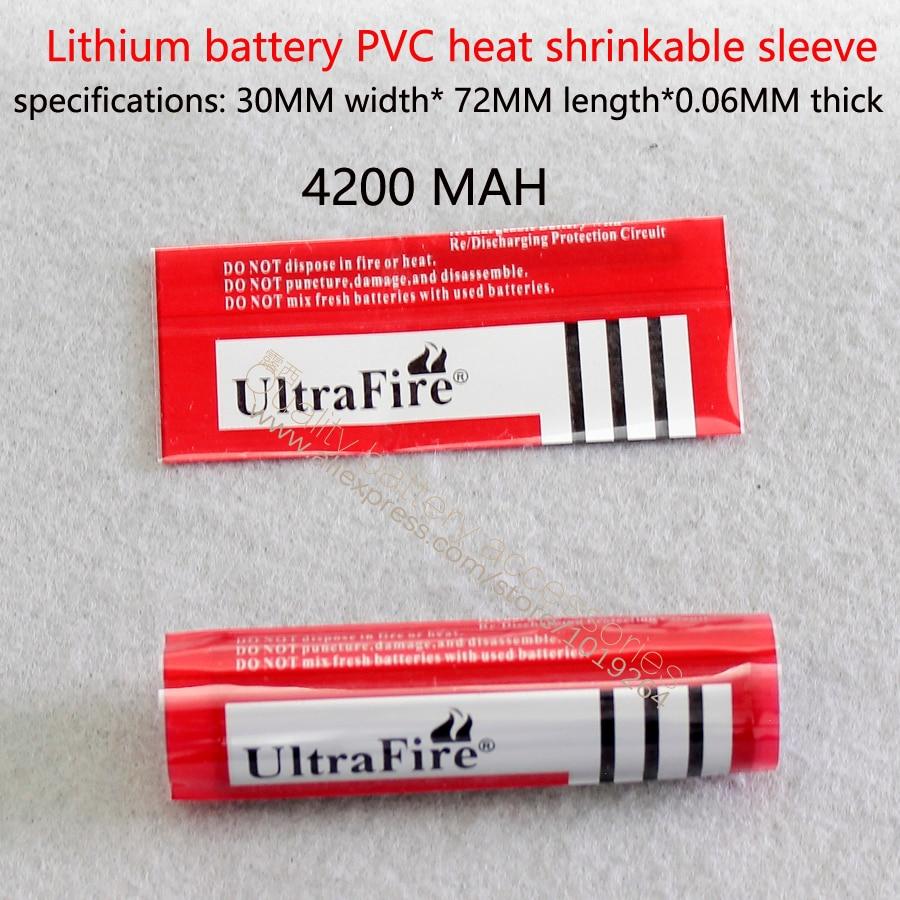 Купить с кэшбэком 100pcs 18650 battery shrink sleeve skin cells heat shrinkable casing PVC heat shrinkable film 4800 mah capacity shrinkable film