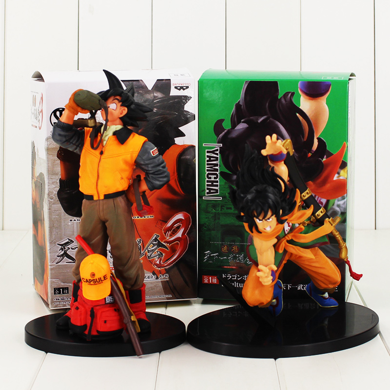 16-21cm 2pcs/lot Dragon Ball Son Goku drinking water with a bag Yamcha with a sword figure model toy hot Japanese Anime model art ceramic
