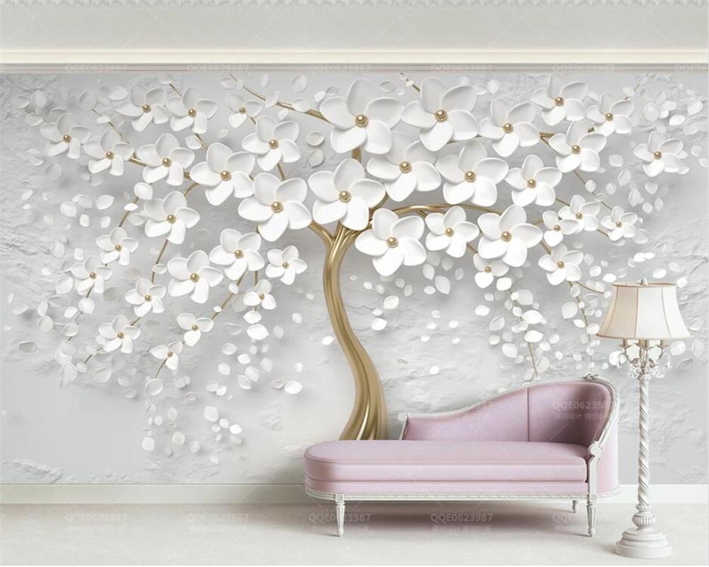 Beibehang personalizado 3d papel de parede mural 3d flor branca 3d em relevo tv fundo da para sala estar