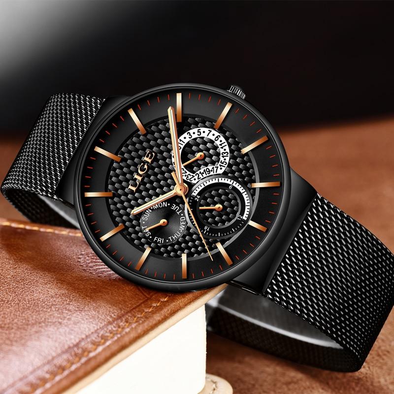 2018 LIGE Hommes Montres Top Marque De Luxe Quartz Montre Hommes Ultra Mince En Acier Plein Maille Ceinture Sport Étanche Horloge Relogio Masculino