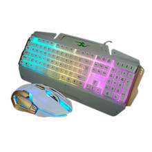 Wired Colorful GlareBacklight Gaming Luminous Keyboard and Mouse Set Combo Multimedia Game Gamer Kit for Computer PC Desktop