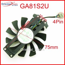 Free Shipping GA81S2U 12V 0.38A 75mm 4Pin Fan For ZOTAC GTX950 GTX960 4G PCI-EDC Graphics Card Fan