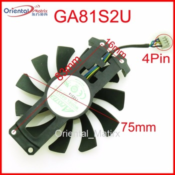 Free Shipping GA81S2U 12V 0.38A 75mm 4Pin Fan For ZOTAC GTX950 GTX960 4G PCI-EDC Graphics Card