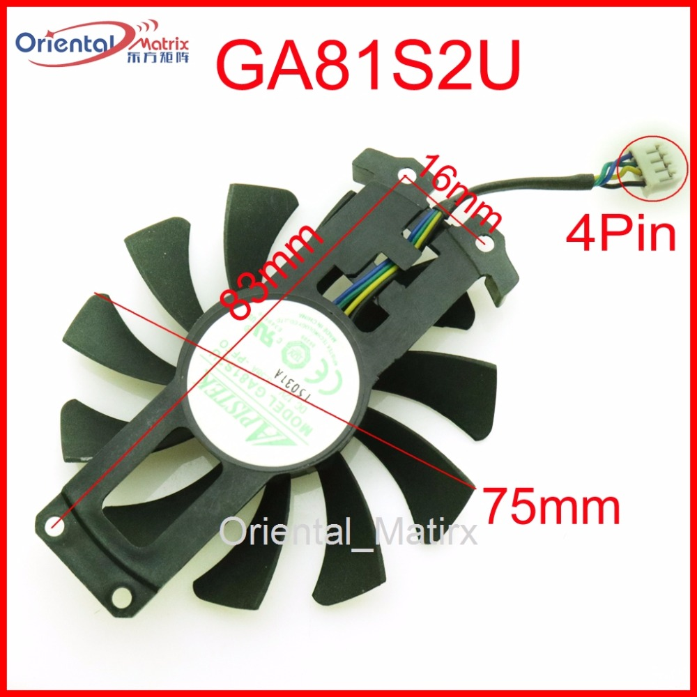 Free Shipping GA81S2U 12V 0.38A 75mm 4Pin Fan For ZOTAC GTX960 4G PCI-EDC Graphics Card Fan free shipping t128015su msi r4770 hd4770 4pin pwn graphics card fan