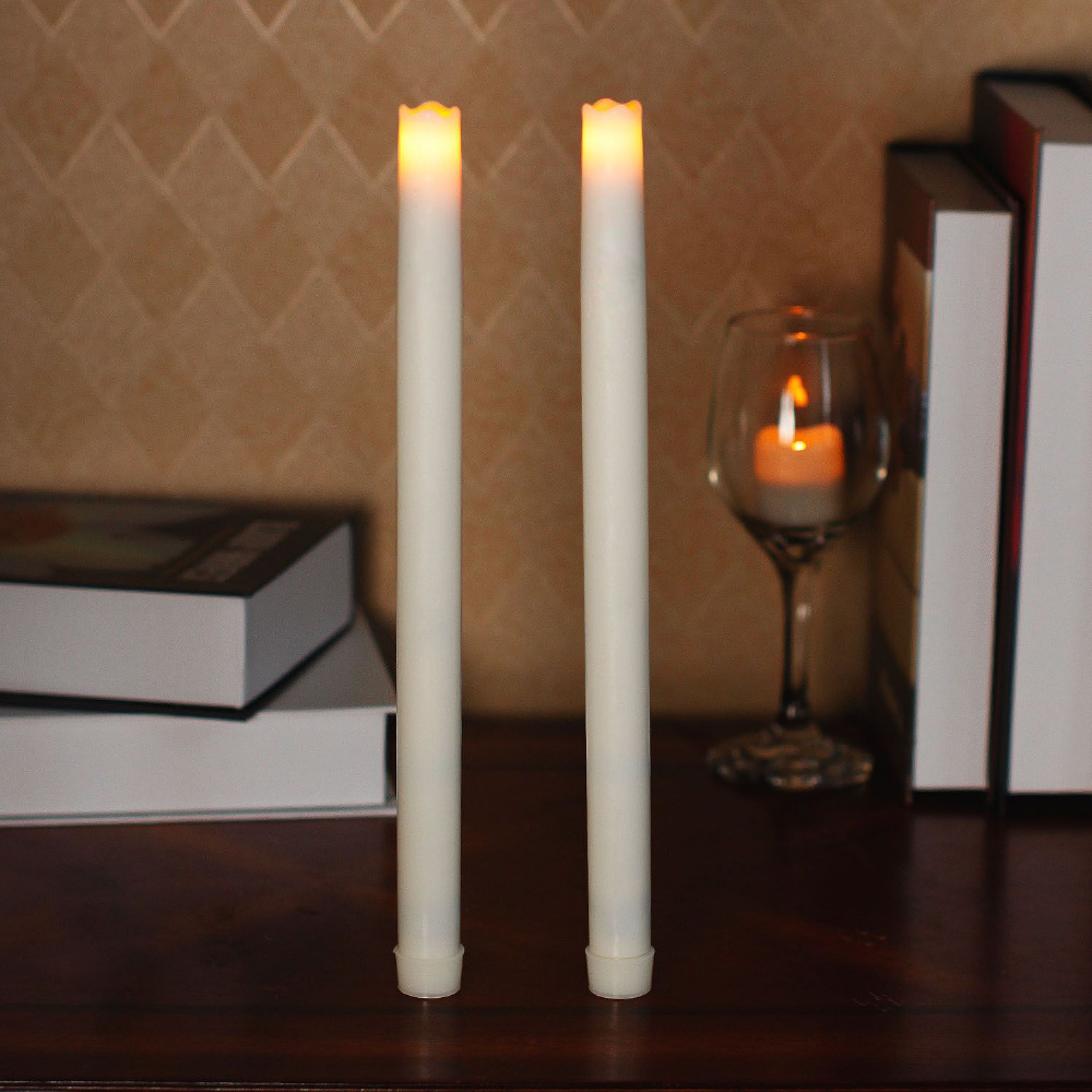 home impressions battery operated smooth flameless real wax melted led taper candle light with timer