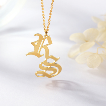Custom Old English Double Letters Necklace Gold Personalized   Nameplate Necklace For Women High Quality Stainless Steel Jewelry mantis boxing double peg stainless steel wushu weapon accept custom