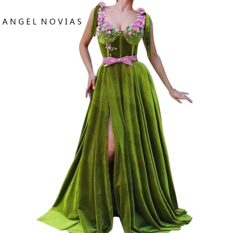 ANGEL NOVIAS Long Velvet Abendkleider Arabic Green Evening Dress 2019 with Slit Vestido Sirena Largo