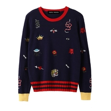 Women's embroidered sweater loose crown honeybee small snake pattern casual top knitted sweater