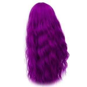 Image 4 - Yiyaobess 70 cm 긴 물결 모양의 보라색 가발 코스프레 합성 핑크 그린 자연 헤어 가발 여성을위한 고온 섬유 29 색상