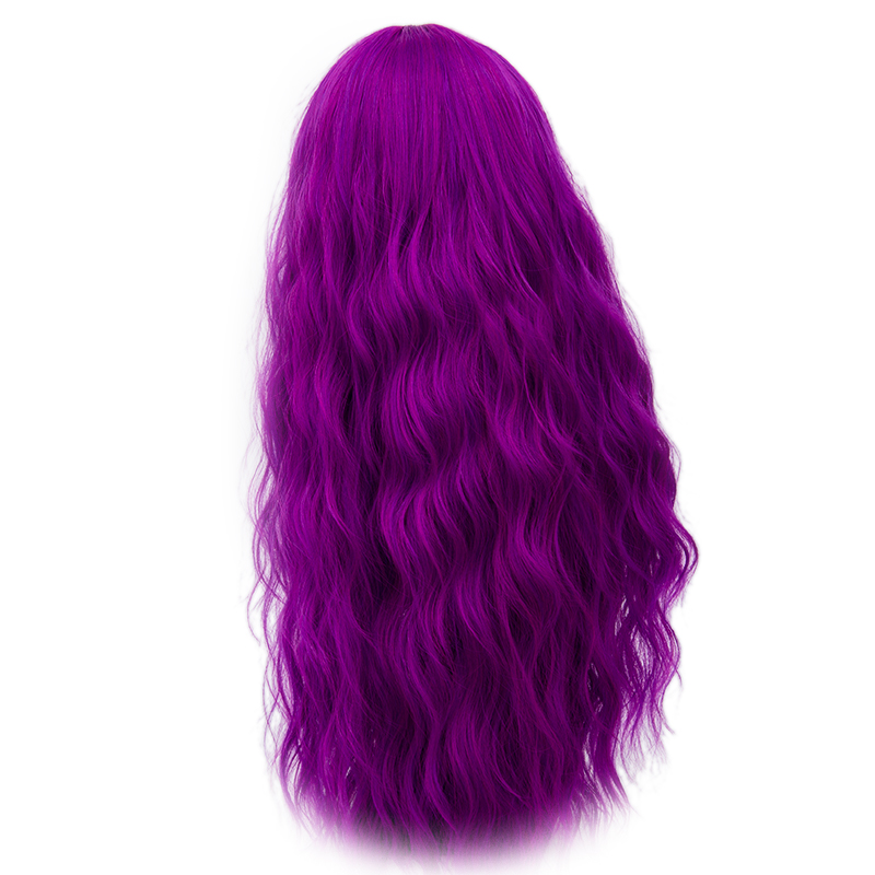 Image 4 - Yiyaobess 70cm Long Wavy Purple Wig Cosplay Synthetic Pink Green Natural Hair Wigs For Women High Temperature Fiber 28 ColorsSynthetic None-Lace  Wigs   -