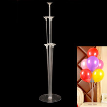 Cyuan 7 Tubes Balloon Stand Holder Plastic Transparent Balloon Stick Birthday Party Kids Wedding Decoration Balloons Decor(China)