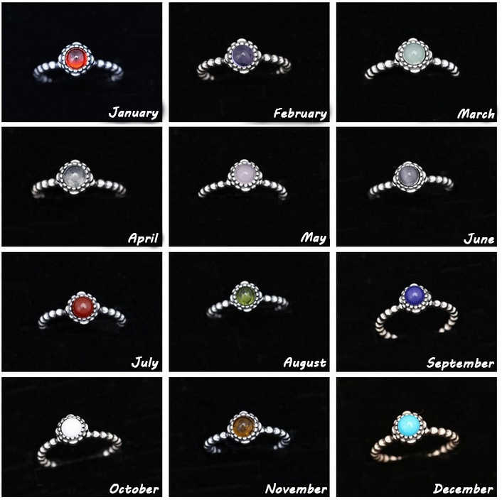 821485c37 Authentic 925 Sterling Silver Original Twelve Months Birthday Blooms Stone  Europe Ring For Women Charm Gift