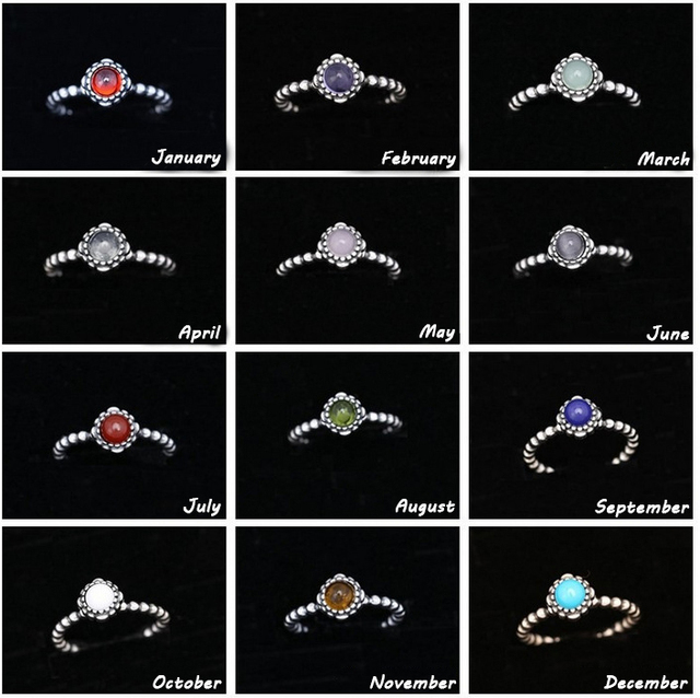 7e6a65ed0 Authentic 925 Sterling Silver Original Twelve Months Birthday Blooms Stone Pandora  Ring For Women Charm Gift DIY Jewelry